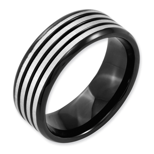 Black Plated Titanium 8mm Ring with Gray Stripes