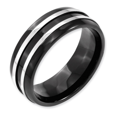 Black-plated Titanium 8mm Grooved Wedding Band