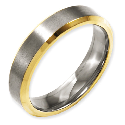 5mm Gold Plated Titanium Ring with Beveled Edges