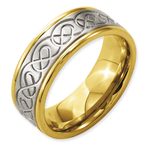 8mm Gold Plated Titanium Ring with Scroll Design