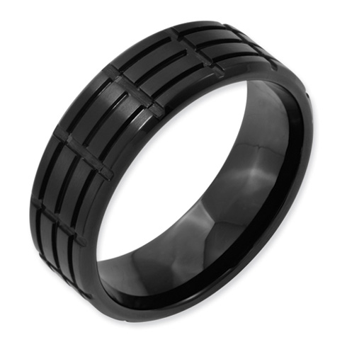 Black Plated Titanium 8mm Multi-Grooved Wedding Band