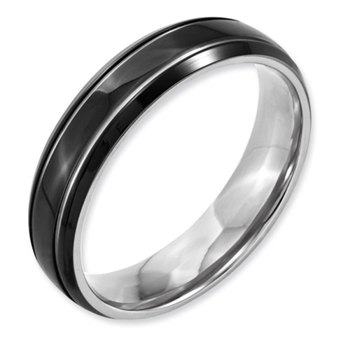 Black Plated Titanium 6mm Wedding Band with Grooves