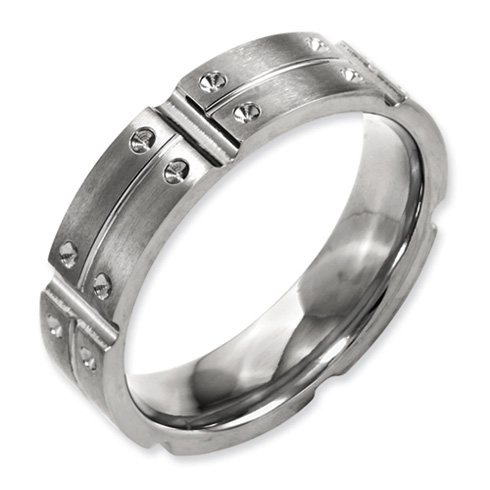 6mm Titanium Grooved Band with Concave Points