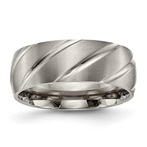 8mm Titanium Ring with Swirl Design