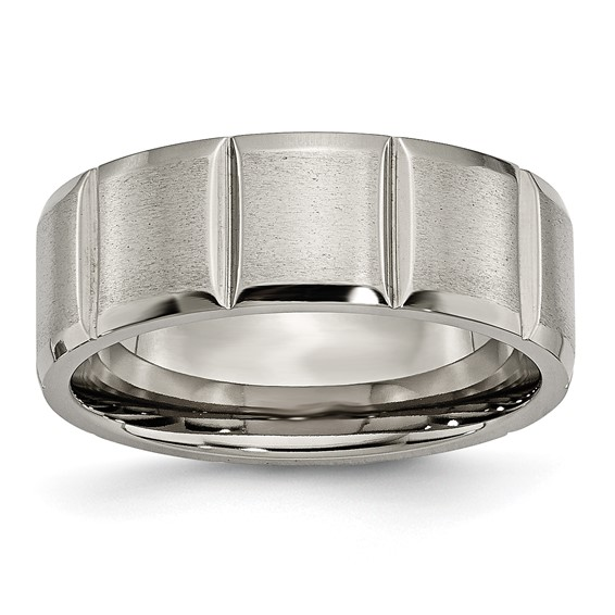 Titanium 8mm Notched Grooved Satin Band