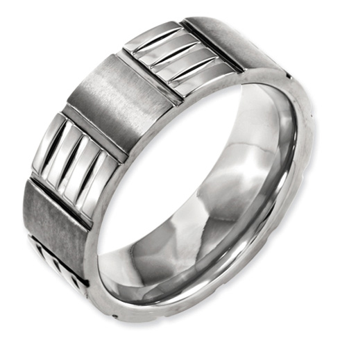 8mm Titanium Satin Band with Panels and Polished Notches