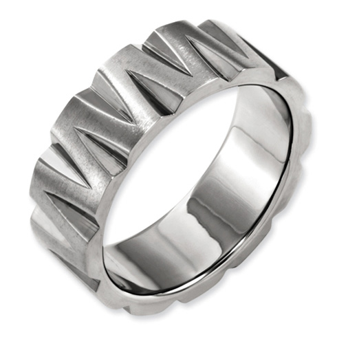 8mm Titanium Satin Band with V-shaped Notches