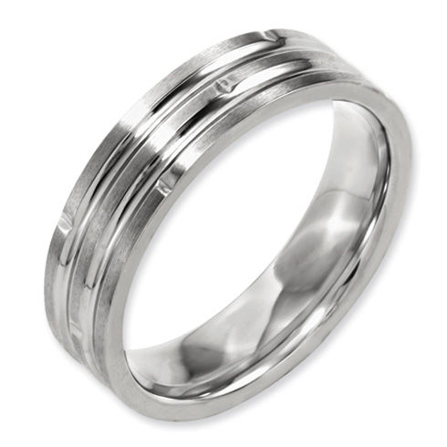 6mm Titanium Grooved Satin Band with Notches