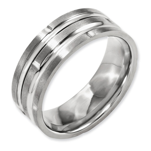 8mm Titanium Grooved Satin Band with Notches