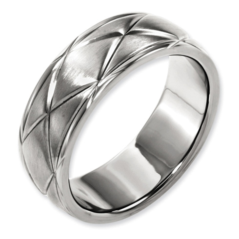 Titanium 8mm X-Design Satin Wedding Band