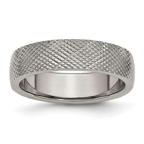 6mm Titanium Checkered Band
