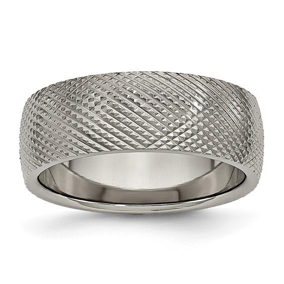 Titanium 8mm Checkered Wedding Band