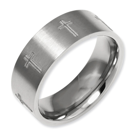 Titanium Flat 8mm Cross Design Wedding Band