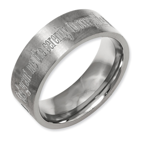 Titanium Flat 8mm Serenity Prayer Design Band