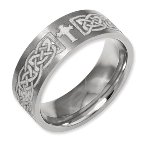 Titanium Flat 8mm Celtic Cross Design Band