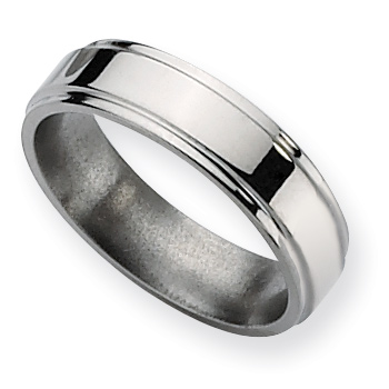 Titanium 6mm Ridged Edge Wedding Band