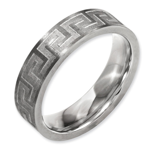 Titanium Greek Key 6mm Satin & Polished Wedding Band