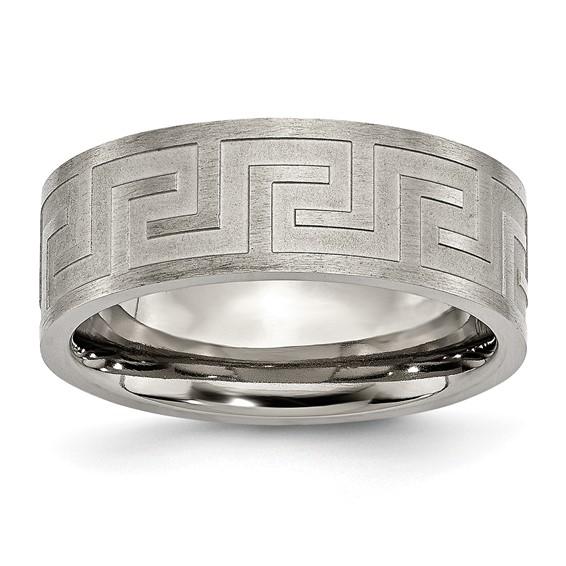 Titanium Greek Key 8mm Satin & Polished Wedding Band