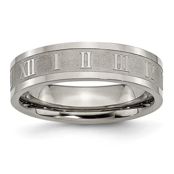 Titanium 6mm Roman Numerals Wedding Band