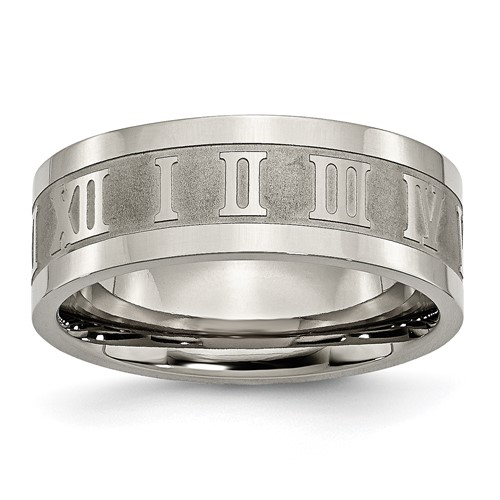 Titanium 8mm Roman Numerals Wedding Band