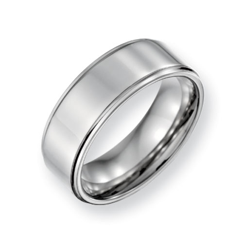 Titanium Wedding Band with Ridged Edge and Flat Center 8mm