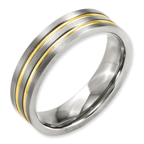 6mm Gold Plated Titanium Ring with Grooves