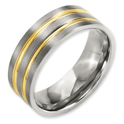 8mm Gold Plated Titanium Ring with Grooves