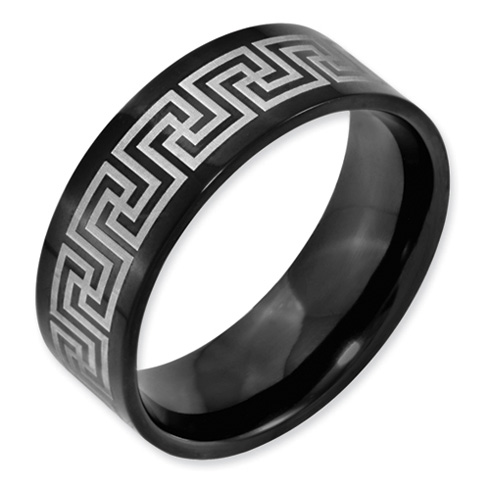 Black Titanium Greek Key Laser Etched 8mm Band