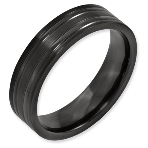 Black Titanium Grooved 6mm Flat Brushed and Polished Band