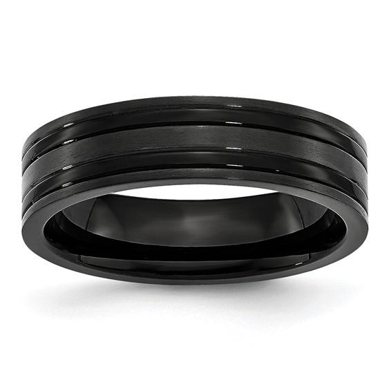 Black Titanium Grooved 6mm Flat Brushed and Polished Band