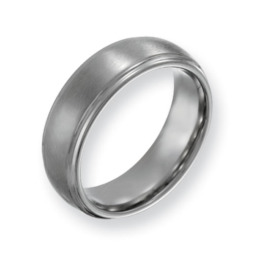 Titanium Ridged Edge 7mm Satin Band