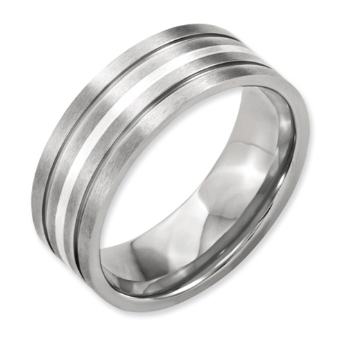 Titanium Grooved Sterling Silver Inlay 8mm Brushed Flat Band
