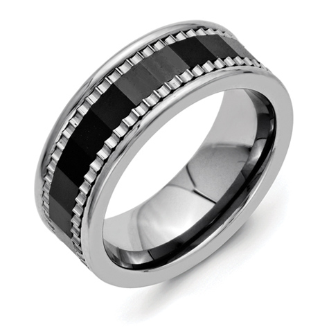 Titanium 8mm Faceted Black Ceramic Ring with Sawtooth Accent
