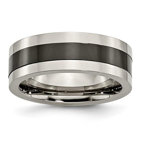 Titanium 8mm Flat Black Ceramic Ring