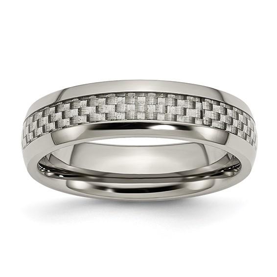 6mm Titanium Ring with Gray Carbon Fiber