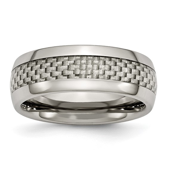 Titanium 8mm Ring with Gray Carbon Fiber