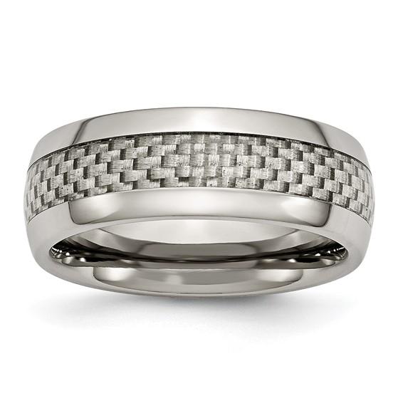 Titanium 8mm Ring with Gray Carbon Fiber