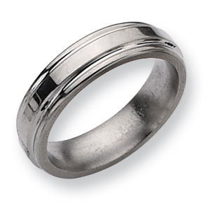 Titanium Grooved Edge 6mm Wedding Band