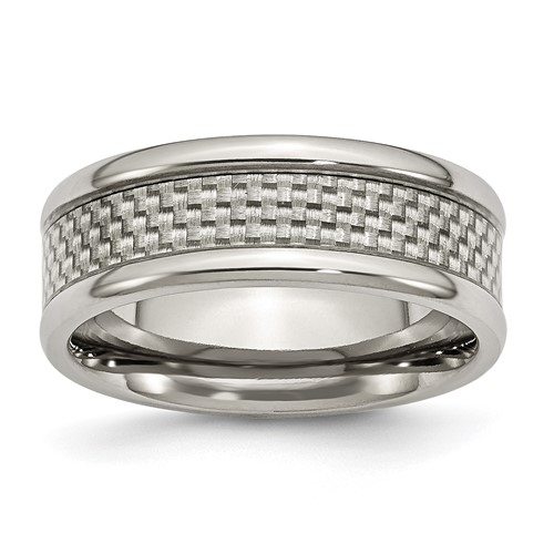 8mm Titanium Ring with Gray Carbon Fiber and Rounded Edges