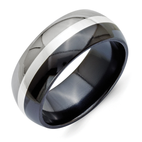 9mm Black Two Tone Titanium Ring with Sterling Silver Inlay