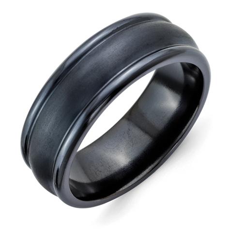 Black Titanium 8mm Brushed Ring with Rounded Edges