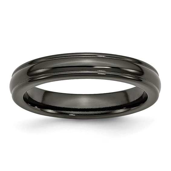 Black Titanium 4mm Ring with Rounded Edges