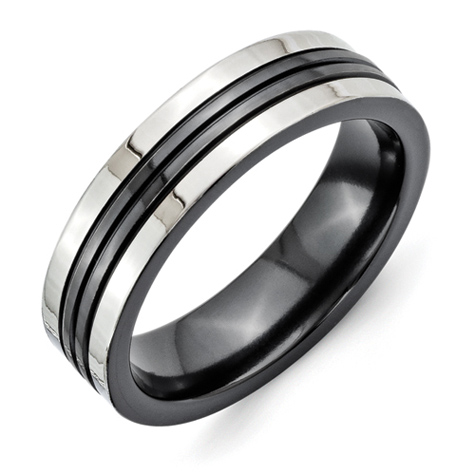 6mm Black Titanium Grooved Ring with Gray Edges