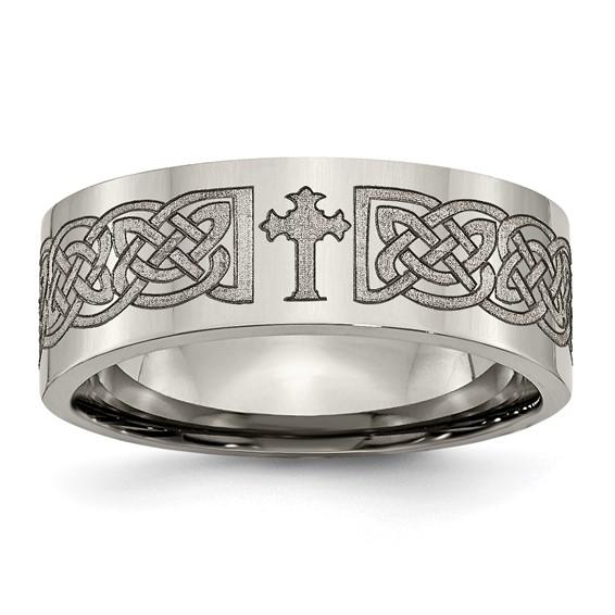 Titanium Flat 8mm Ring with Celtic Cross Design