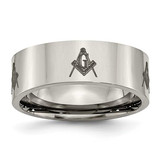 8mm Titanium Masonic Flat Ring
