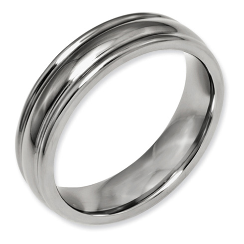 Titanium Grooved Wedding Band with Rounded Edges 6mm