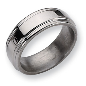 Titanium 8mm Grooved Edge Wedding Band