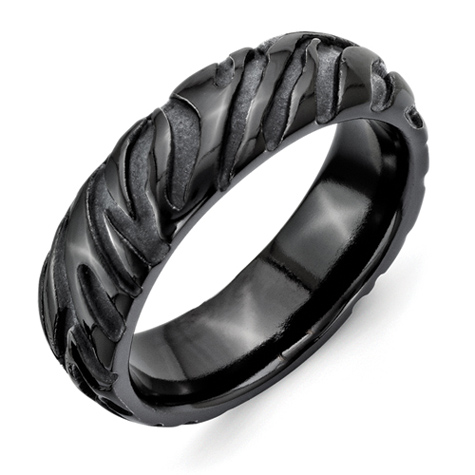 Black Titanium 7.5mm Ring with Safari Texture