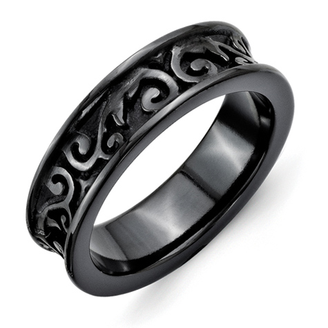 Black Titanium 5.5mm Ring with Scroll Texture