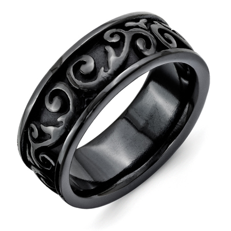Black Titanium 8.5mm Ring with Scroll Texture